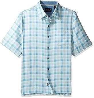 Nat Nast Men's Plaid Print Traditional Fit Silk Blend Shirt
