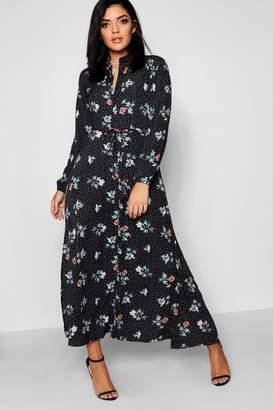 boohoo Spot & Floral Print Split Maxi Shirt Dress