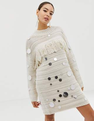 French Connection embellished and fringe sweater dress