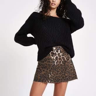 River Island Womens Brown leopard print denim mini skirt