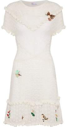 RED Valentino Embellished Crochet-Knit Mini Dress