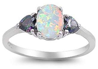 Noureda Sterling Silver Elegant 3 Stone Ring with Centered Oval Cut Llab Opal Simulated Diamond and Two Rainbow Topaz Heart Cut Diamonds Side Views On Prong Setting, Face Height 8MM