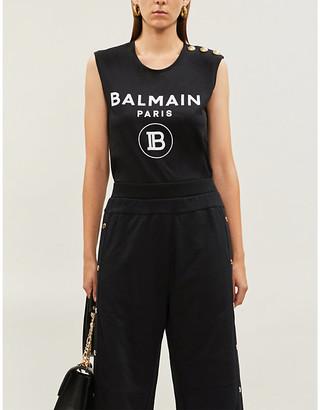 Balmain Buttoned-shoulders sleeveless cotton-jersey T-shirt