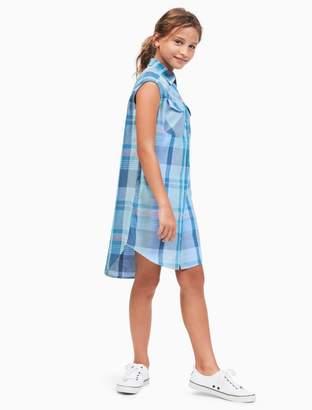 Calvin Klein girls aurora plaid shirtdress