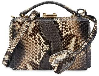 Mark Cross Grace Mini Grey Python Box Bag