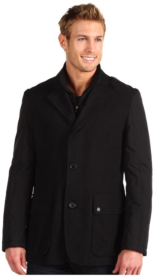 Cole Haan Mixed Media Moleskin Blazer (Black) - Apparel