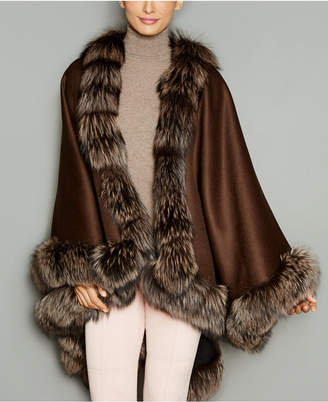 The Fur Vault Fox-Fur-Trim Wool-Blend Cape