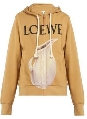 Loewe Printed Cotton Jersey Zip Up Hooded Sweatshirt - Mens - Beige