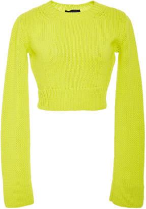 Brandon Maxwell Long Sleeve Rib Waist Pullover