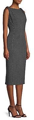 Michael Kors Women's Draped Shoulder Polka Dot Sheath Dress - Size 0