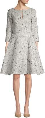 Oscar de la Renta Sequin Silk Fit-&-Flare Dress