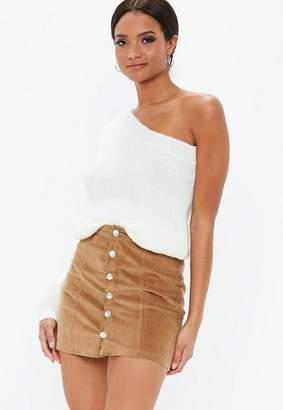 Missguided Cord Button Through Mini Skirt