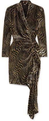 Dodo Bar Or - Ava Wrap-effect Asymmetric Metallic Velvet-jacquard Dress - Gold