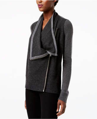 INC International Concepts I.n.c. Waffled Zip Completer Sweater, Created for Macy's