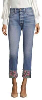 Alice + Olivia AO.LA by Amazing High-Rise Embroidered Girlfriend Jeans