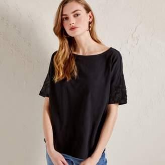 051b4507c The White Company Cotton Sequin Sleeve T-Shirt, Black, 6
