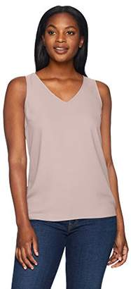Lark & Ro Women's Sleeveless V-Neck Tank Top with Clean Hem