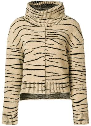 Ssheena zebra print turtleneck sweater