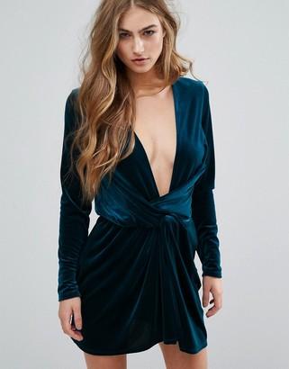 Missguided Velvet Wrap Dress $68 thestylecure.com