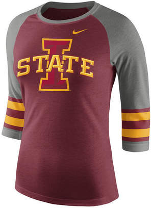 Nike Women's Iowa State Cyclones Team Stripe Logo Raglan T-Shirt