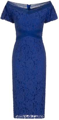 Dorothy Perkins Womens **Little Mistress Blue Lace Bardot Pencil Dress