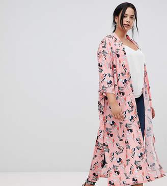 Yumi Plus Belted Floral Kimono