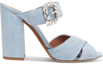 Tabitha Simmons Reyner Crystal-embellished Denim Mules - Mid denim