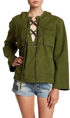 EMORY PARK Lace-Up Pullover Military Jacket