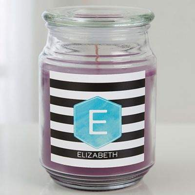 Modern Stripe Scented Glass Candle Jar