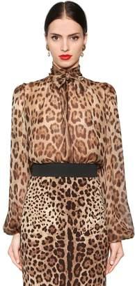 Dolce & Gabbana Leopard Print Sheer Silk Chiffon Blouse