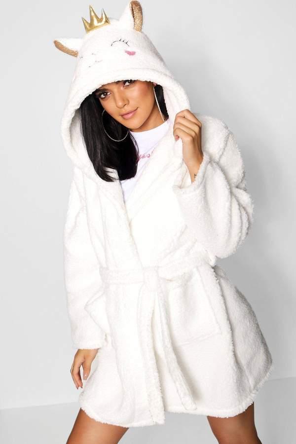 boohoo Fluffy Lamb Dressing Gown