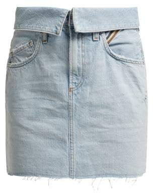 Atelier Jean Flip Fold Over Denim Mini Skirt - Womens - Denim