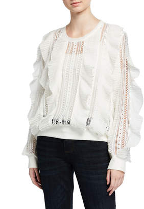 Lumie Ruffle Lace-Strip Pullover