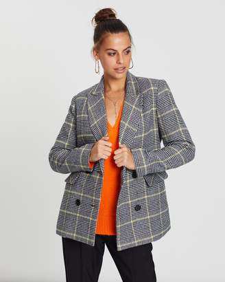 Born This Way Wool Blend Check Blazer