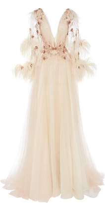 Pamella Roland Embroidered Crystal And Feather Gown