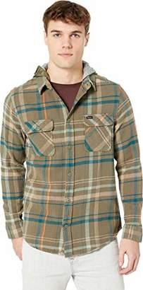 RVCA Men's Essex Plaid Long Sleeve Hooded Woven Shirt