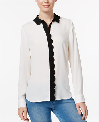 Maison Jules Colorblocked Scallop-Detail Shirt, Only at Macy's $59.50 thestylecure.com