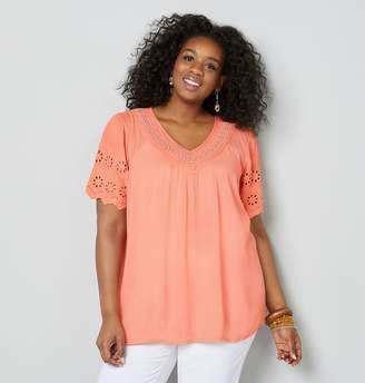Avenue Plus Size Crochet Trim V-Neck Top