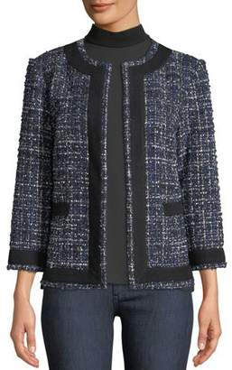 Misook Tweed Knit Jacket w/ Border Trim, Petite
