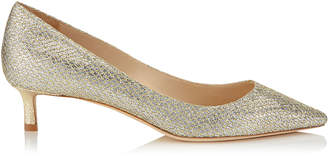 Jimmy Choo ROMY 40 Champagne Glitter Fabric Pointy Toe Pumps