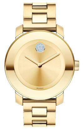 Movado Bold Yellow Gold Ion Plated Stainless Steel Unisex Watch 3600104