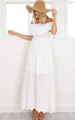 Showpo Catch A Wave Maxi Dress in white Maxi Dresses