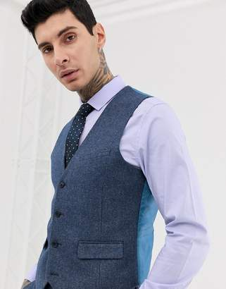 Harry Brown wedding wool blend slim fit summer tweed waistcoat
