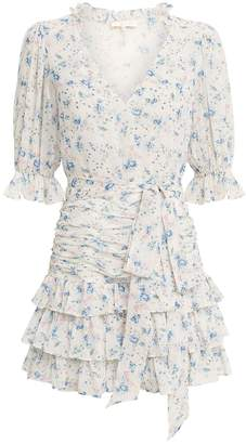 LoveShackFancy Hannah Floral Silk Ruffled Dress