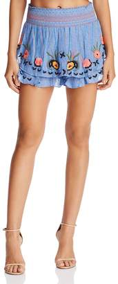 Red Carter Barra Embroidered Shorts