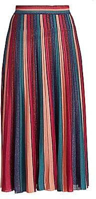 Jonathan Simkhai Women's Metallic Stripe Pleated Skirt