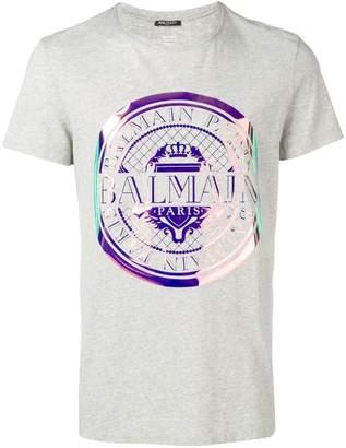 Balmain iridescent logo medallion T-shirt