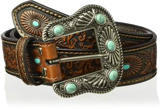 Nocona Belt Company Belt Co. Women's Scroll Embossed Painted Turquoise Oval Belt