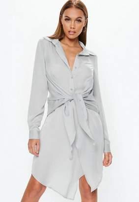 Missguided Gray Tie Belt Shirt Dress