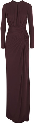 Givenchy - Ruched Gown In Merlot Stretch-crepe